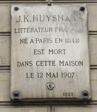 Joris-Karl Huysmans - Commemorative plaque in 31 rue Saint-Placide, Paris, 6e