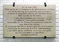 Plaque cinquantenaire de la gréve des 3000 agents de la Compagnie du Métropolitain de Paris le 16 août 1944 à Hôtel de Ville.JPG