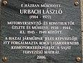 Plaque of Laszlo Urbach, 12 Hunyadi Square, 2016 Terezvaros.jpg