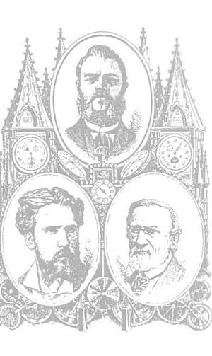 Antoni Patek - Engraving Polish Watchmaking in Geneva picturing Antoni Patek at the top, and portraits of both Gostkowski brothers below.