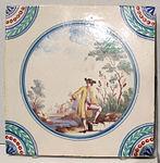 Porcellana di doccia, mattonella con scena pastorale, 1780 ca., 15x15 cm, coll. priv. 01.JPG