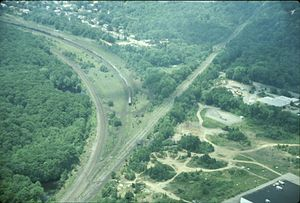 Port Morris Junction - Port Morris Junction and Port Morris railyard in 1985. The Lackawanna Cut-Off goes straight toward the upper right, while New Jersey Transit's Montclair-Boonton Line to Hackettstown, New Jersey, curves off to the left.