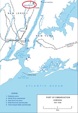Camp Merritt, New Jersey - Camp Merritt's location within Port of Embarkation Hoboken (1917-1918).
