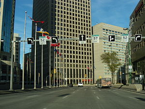 Portage and Main as seen from Portage Ave Eastbound.JPG