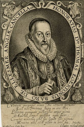 Thomas Egerton, 1st Viscount Brackley - Engraved portrait of Thomas Egerton by Simon de Passe