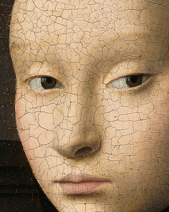 Portrait of a Young Girl (Christus) - Detail showing extensive craquelure