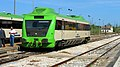 Portuguese Railways 0355 railcar at Torre das Vargens Railway Station.jpg