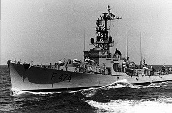 Portuguese frigate Almirante Magalhães Correia (F474) underway at sea