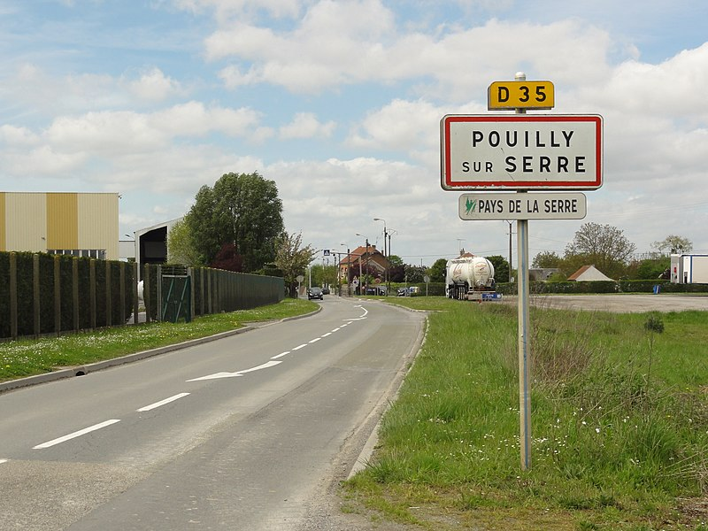 Pouilly-sur-Serre (Aisne) city limit sign