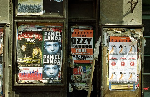 Ozzfest concert poster on an empty storefront door in downtown Prague, Czech Republic (Summer 2002). PragueOzzfest.jpg