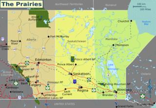 Landkarte der Prarieprovinzen Kanadas