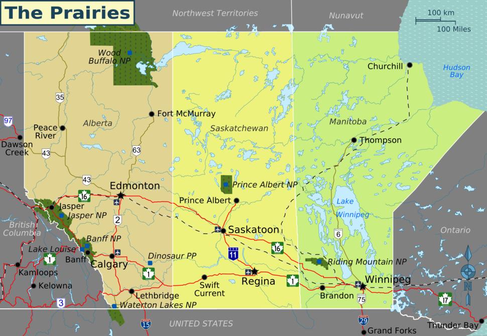 Prairies map