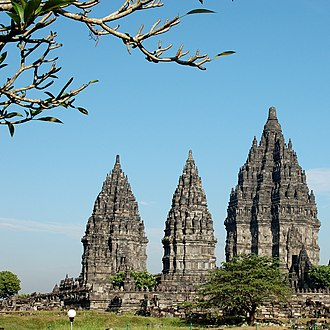History of Indonesia - Prambanan in Java; built during the Sanjaya dynasty of Mataram, it is one of the largest Hindu temple complexes in south-east Asia.