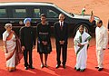 Pratibha Devisingh Patil and the Prime Minister, Dr. Manmohan Singh at the Ceremonial Reception of US President, Mr. Barack Obama and the First Lady Mrs. Michelle Obama, at Rashtrapati Bhawan, in New Delhi (2).jpg