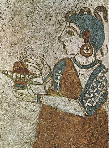Girl with incense holder fresco from Akrotiri