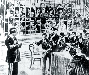 Enrico Alfano - Carlo Fabbroni (left) at the trial in Viterbo
