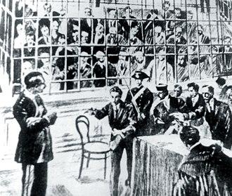Enrico Alfano - Carlo Fabbroni (left) at the trial in Viterbo