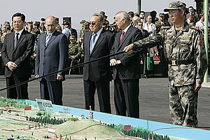 Shanghai Cooperation Organisation - SCO leaders at Peace Mission 2007. Hu Jintao, Vladimir Putin, Nursultan Nazarbayev and Islam Karimov