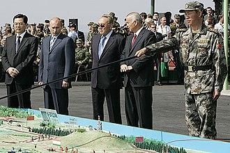 Shanghai Cooperation Organisation - SCO leaders at Peace Mission 2007. Hu Jintao, Vladimir Putin, Nursultan Nazarbayev and Islam Karimov