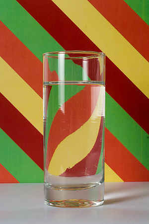 Refraction - Refraction in a glass of water. The image is flipped.