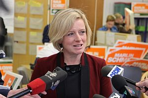 Alberta New Democratic Party - Current leader Rachel Notley during the 2015 campaign in which the Alberta NDP formed its first majority government