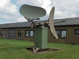 Fan-beam antenna - AN/FPN-36 radar, with search (left) and height-finding (right)