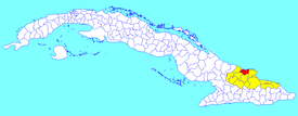 Rafael Freyre municipality (red) within  Holguín Province (yellow) and Cuba