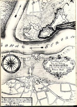 History of Novi Sad - Map of Novi Sad (Ratzen Stadt) from 1745