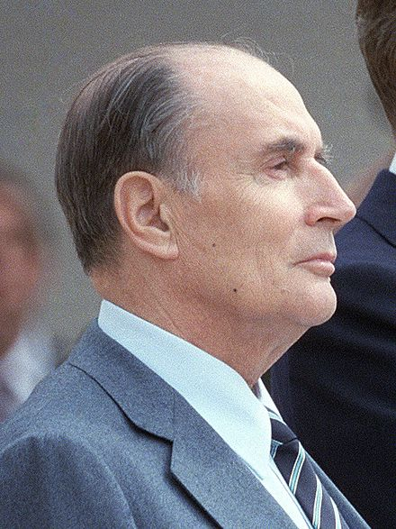 François Mitterrand issued a formal apology to the Huguenots and their descendants on behalf of the French state in 1985 Reagan Mitterrand 1984 (cropped).jpg