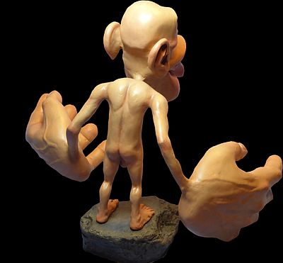 Picture of the rear of a Sensory Homunculus, pitured against black background