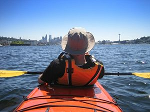 Kayaking in a double on Lake Union in Seattle,...
