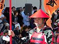 Red-armored warrior closeup in 2006 Aizu parade.JPG