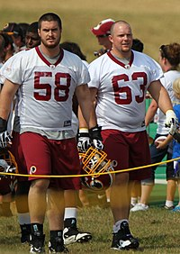 585f78b14 ... to his promising rookie season. Will Montgomery (right) with back-up  Erik Cook at Redskins training camp in 2011