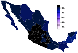 "Irreligion in Mexico - Percentage of state populations that identify with a religion rather than ""no religion"", 2010."