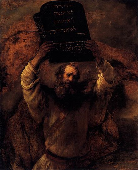 Moses Breaking the Tablets of the Law by Rembrandt, 1659 Rembrandt - Moses Smashing the Tablets of the Law - WGA19132.jpg