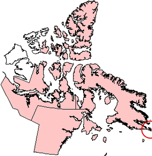 Resolution Island (Nunavut) - Resolution Island, Nunavut (red circle at edge of map).