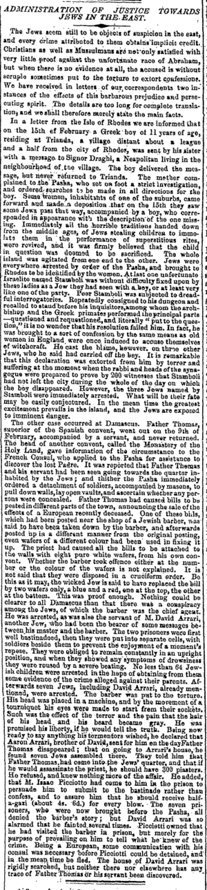 Damascus affair - The Rhodes blood libel and the Damascus affair, reported together in The Times, Apr 18, 1840