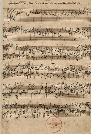 Fugue - The six-part fugue in the Ricercar a 6 from The Musical Offering, in the hand of Johann Sebastian Bach