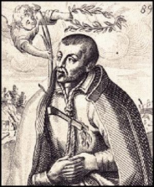 Robert Southwell (Jesuit) - Saint Robert Southwell, S.J. (1561–1595). Line engraving by Matthaus Greuter (Greuther) or Paul Maupin, published 1608.