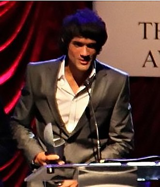 Rodrigo Rodrigues - Rodrigues receiving the Irish Times Theatre Award