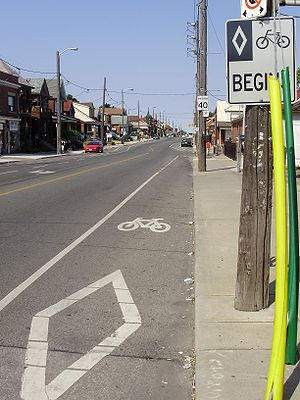 Cycling in Toronto - A bike lane on Rogers Road in Toronto