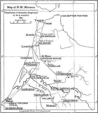 Abyla - Late nineteenth-century reconstruction of main Roman roads in Mauretania Tingitana. Ad Septem Fratres = Septem