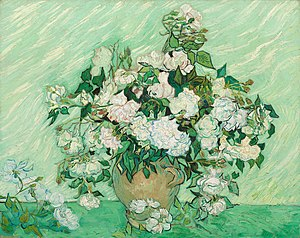 Impasto - Still Life: Vase with Pink Roses is an oil painting on canvas completed by Vincent van Gogh in 1890, which makes extensive use of the impasto technique.