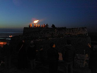 Cleethorpes - A beacon was lit on the top of Ross Castle to mark the Diamond Jubilee of Queen Elizabeth II on Monday 4 June 2012
