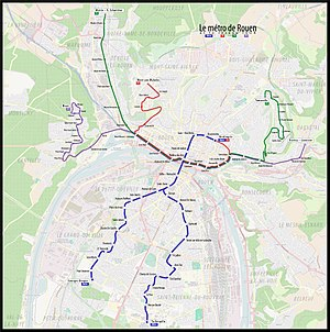 Rouen tramway - Map of Rouen public transit system, including the tramway (in blue).