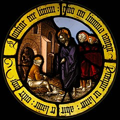 Roundel with Christ Healing the Blind Man