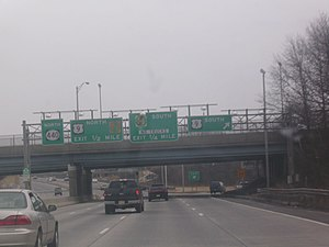 New Jersey Route 440 - Northbound Route 440 at the exit for southbound US 9 in Woodbridge