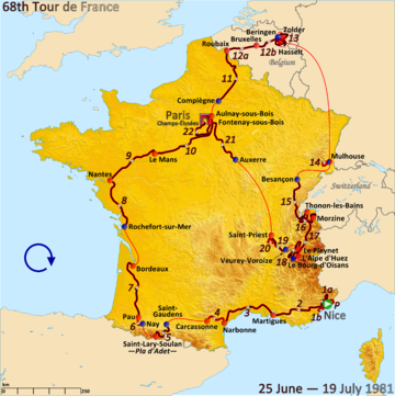 Map of France with the route of the 1981 Tour de France
