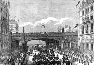 St Andrew Holborn (church) - The opening of Holborn Viaduct, 1869