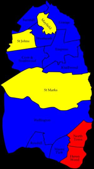 Rushmoor Borough Council elections - Image: Rushmoor 2006 election map